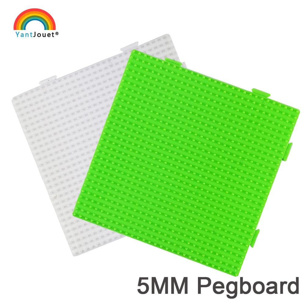 Yantjouet 5mm Hama Beads Pegboard White Green 29x29 Dot Transparent Template Board Square Tool DIY Figure Material Board Jigsaw