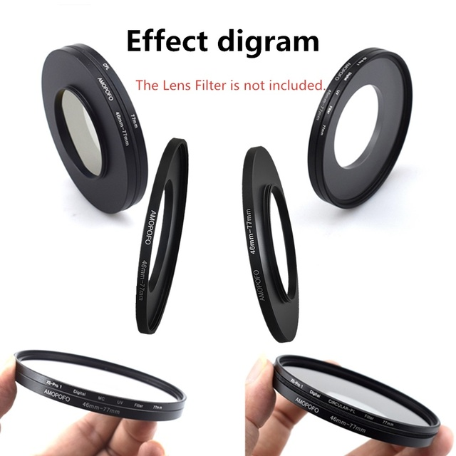 Universal 46 77mm /46mm to 77mm Step Up Ring Filter Adapter for UV,ND,CPL,Metal Step Up Ring Adapter