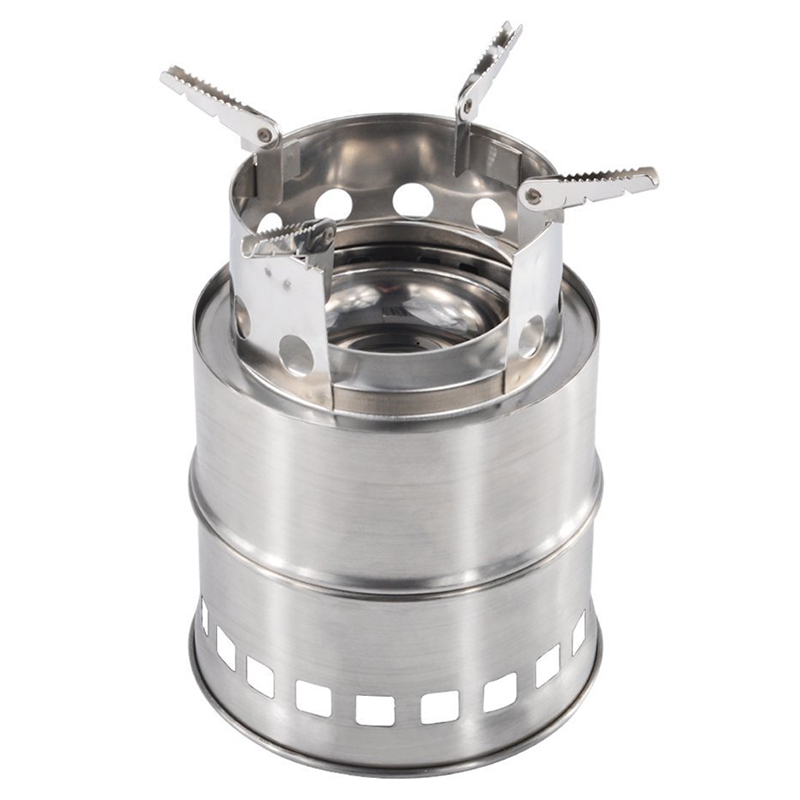 Camping Stove Portable Stainless Steel Wood Stove Camping Equipment For Outdoor Hiking Camping Traveling Picnic Bbq image