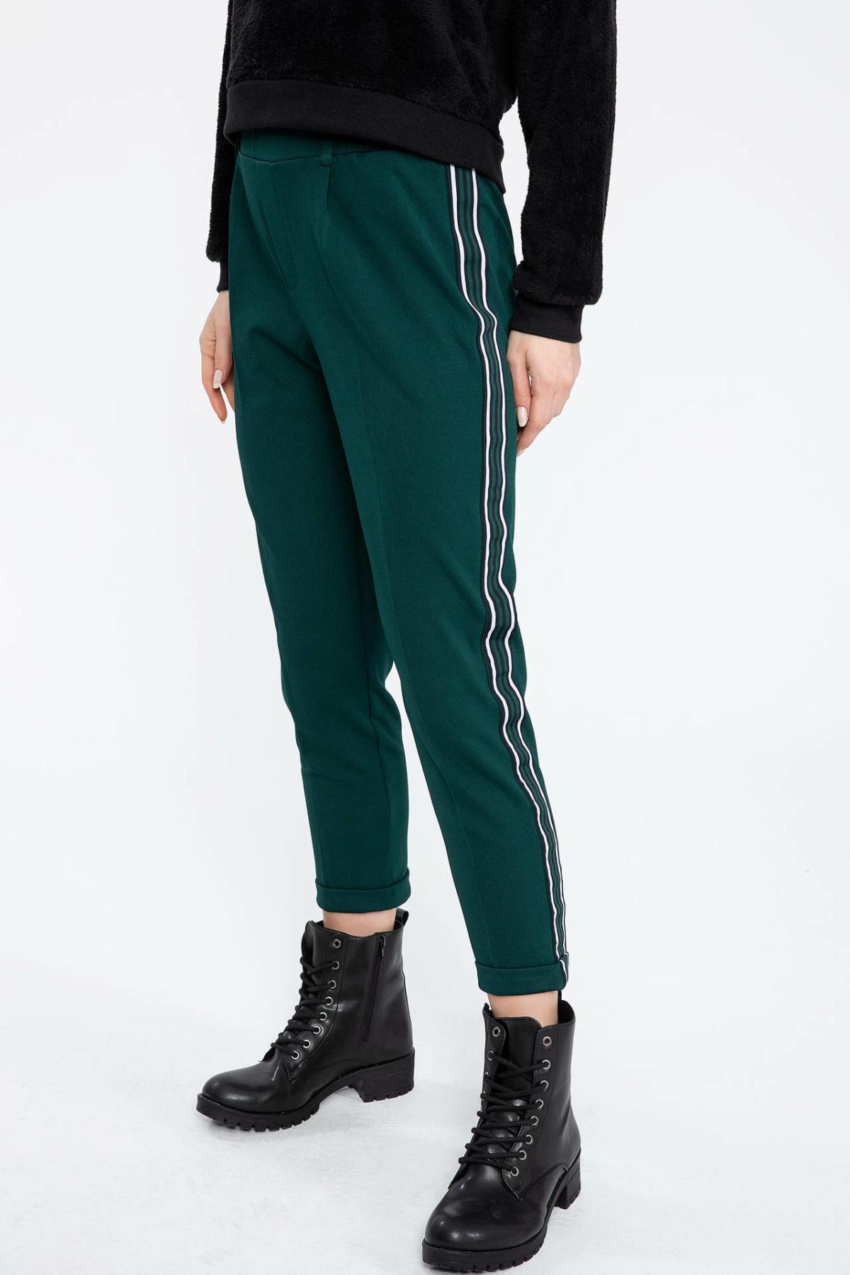 DeFacto Woman Adjustable Long Trousers Striped Long Pants Casual Sportspants Black Green Color Women Bottoms-J5733AZ18AU