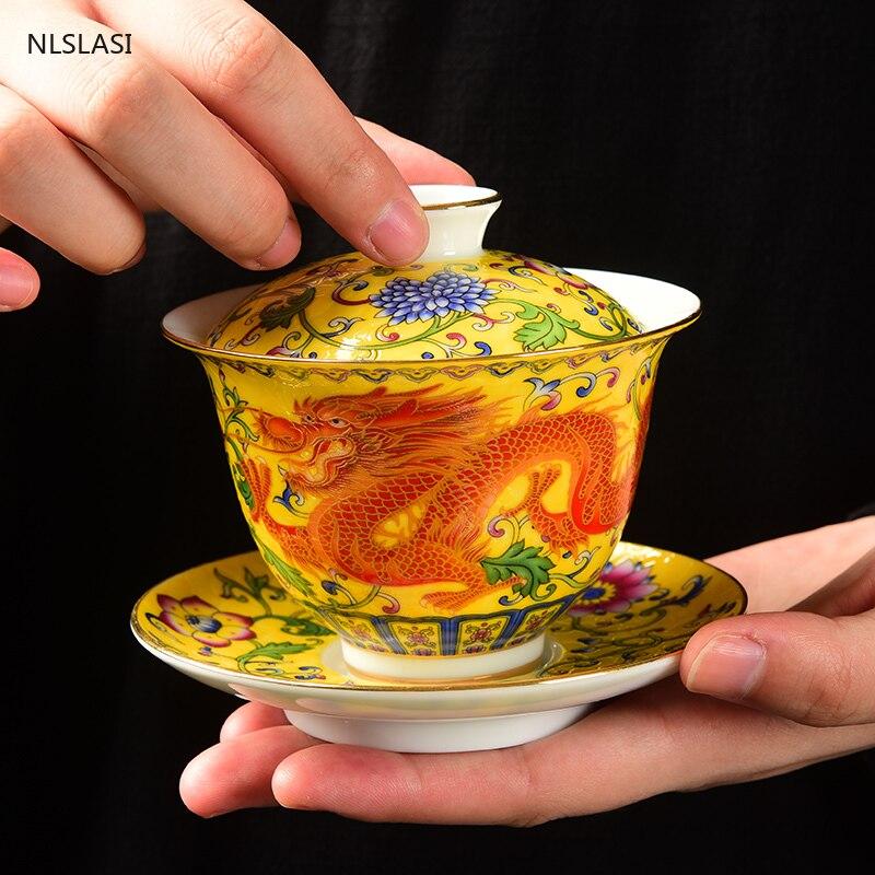 Chinese Ceramic Gaiwan Teacup handmade Enamel Tea Tureen Boutique tea bowl Porcelain Teaware Accessories Drinkware