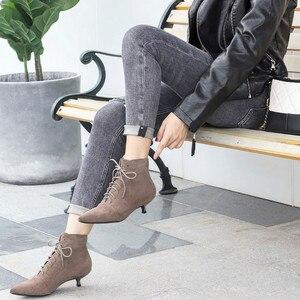 Image 5 - Botas para mujer de tacón alto y delgado puntiagudas de goma, botines, calzado Sexy, puntiagudos, encaje, color negro, temporada otoño invierno, 2020