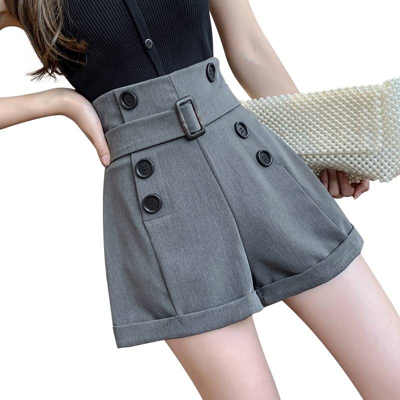 High Waist Belt Suits Shorts Women Double Breasted Fashion Elegant Office OL Short Female 2020 New Spring Summer Trouser Black