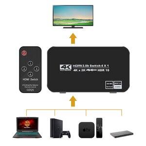 Image 2 - חדש 4K HDMI 2.0 Switcher מתג ספליטר 4 ב 1 מתוך 4K 60Hz HDR hdmi switcher HDCP 2.2 שלט רחוק עבור PS4 פרו DVD, xbox