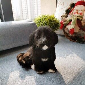 Juguete de peluche de imitación de perro Labrador suave realista, cachorro, regalo de cumpleaños de Navidad para niños, juguete de aprendizaje de modelos de animales realistas