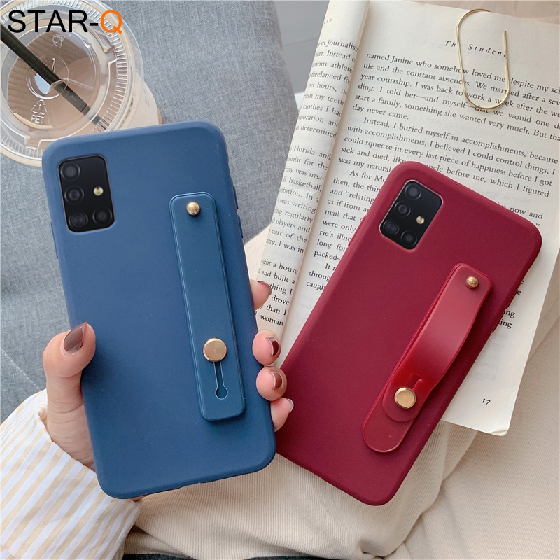 Wrist Strap Phone Holder Silicone Case For Samsung Galaxy S20 Plus Ultra S10 S9 S8 Note 10 Pro 8 9 A71 A51 M30s Soft Back Cover