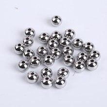 Lote de 30 a 100 unidades de cuentas de acero inoxidable para manualidades, accesorios para manualidades, cuentas espaciadoras sueltas para fabricación de joyas