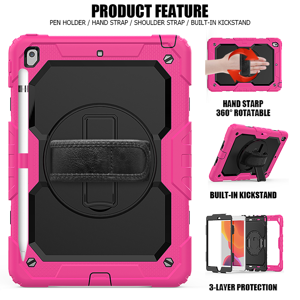 360 For Gen iPad 8th A2198 cover Shockproof degree funda A2200 rotation 2020 Kids Silicon PC 10.2 case Stand 7th straps A2232