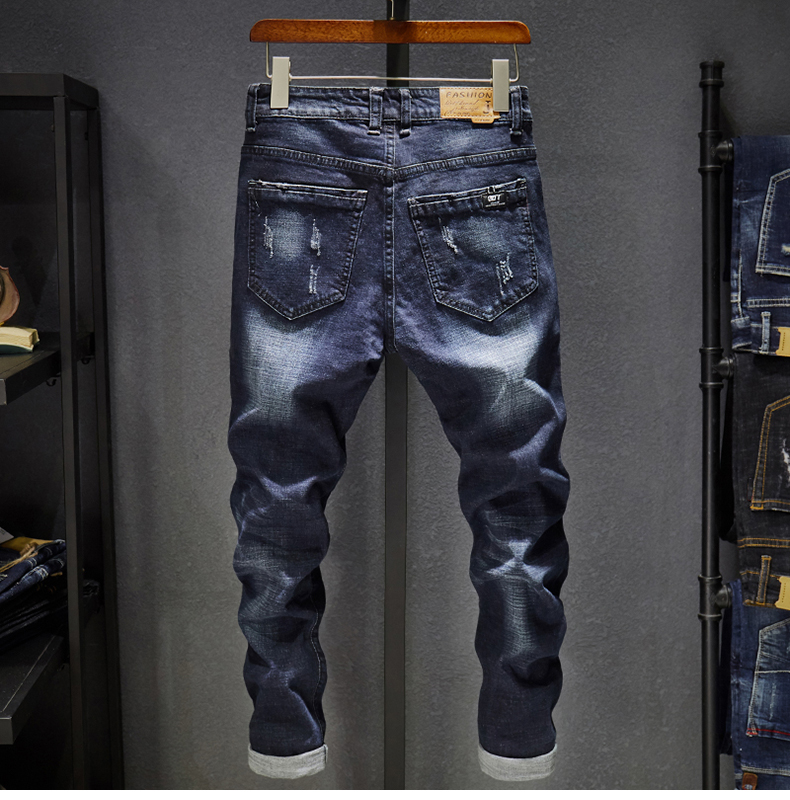 Slim Fit Jeans Men Stretch Dark Blue Spring and Autumn Denim Pants Casual Full Length Trousers Male