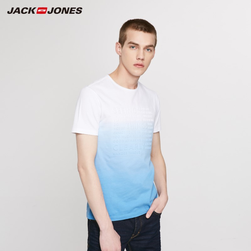 JackJones Men's 3D Letters Gradient Dyed Short-sleeved T-shirt Style| 219201545