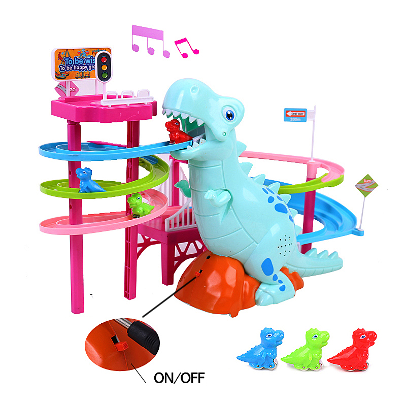 Brand New Electric Slide Railcar Track toy 3-6 years old Dinosaur climb stairs music light play interactive educational toys 2