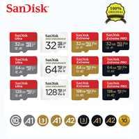 Cartão Micro sd Cartão de Memória TF Cartão Sandisk 100% Originais Class10 U1 U3 A2 16GB GB 64 32GB cartao de memoria de 128GB 256GB placa de Vídeo