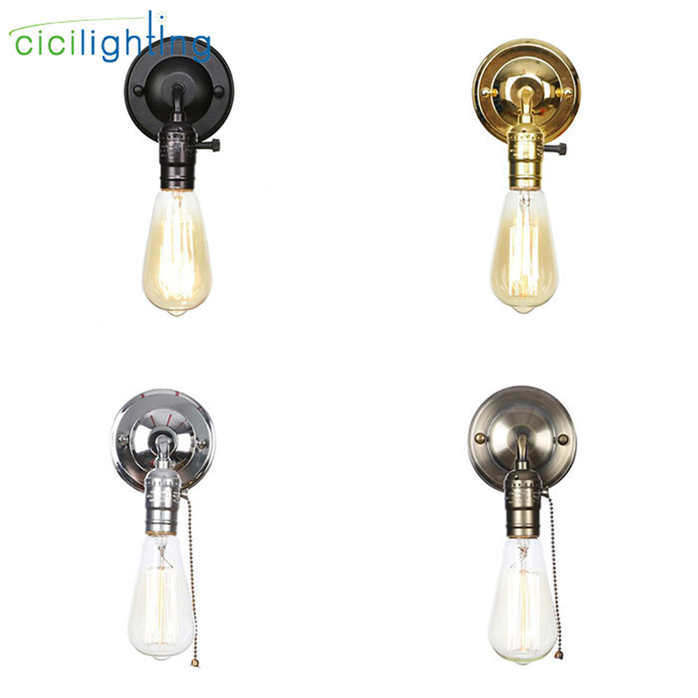 loft crane switch - Pull chain switch scones led wall lights Chrome loft style retro vintage iron bedroom wall lamp bedside lampen stair wandlamp