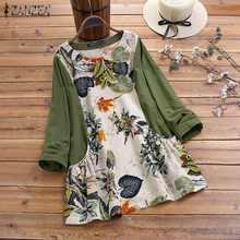 Spring Floral Printed Pacthwork Shirt ZANZEA Women Long Sleeve Blouse Vintage Casual O Neck Cotton Tunic Tops Female Blusas 7