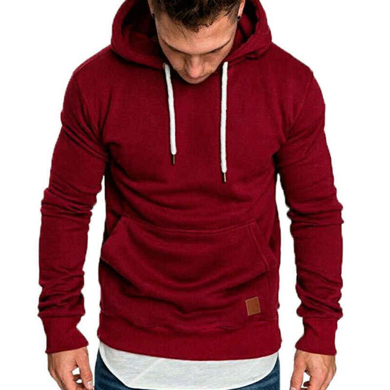 Hirigin Herbst Männer Casual Langarm Front Tasche Weiche Baumwolle Plain Zipper Pullover Hoodies Sweatshirts Running Wear