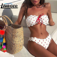 Strapless Wave Point Bikini Set Two Piece Women Swimsuit Mini Sexy Push Up Padded Bra Bandage Beachwear Lace Swimwear