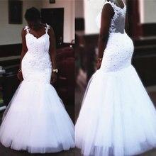 Белое Кружевное фатиновое свадебное платье в африканском стиле