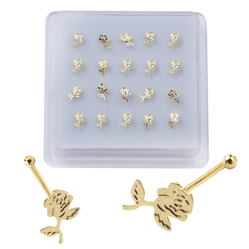 20 Pieces Rose Flower Shape Nose Studs Ball Pin End for Women Girl Nose Rings Piercing Puncture Body Jewelry Universal-0