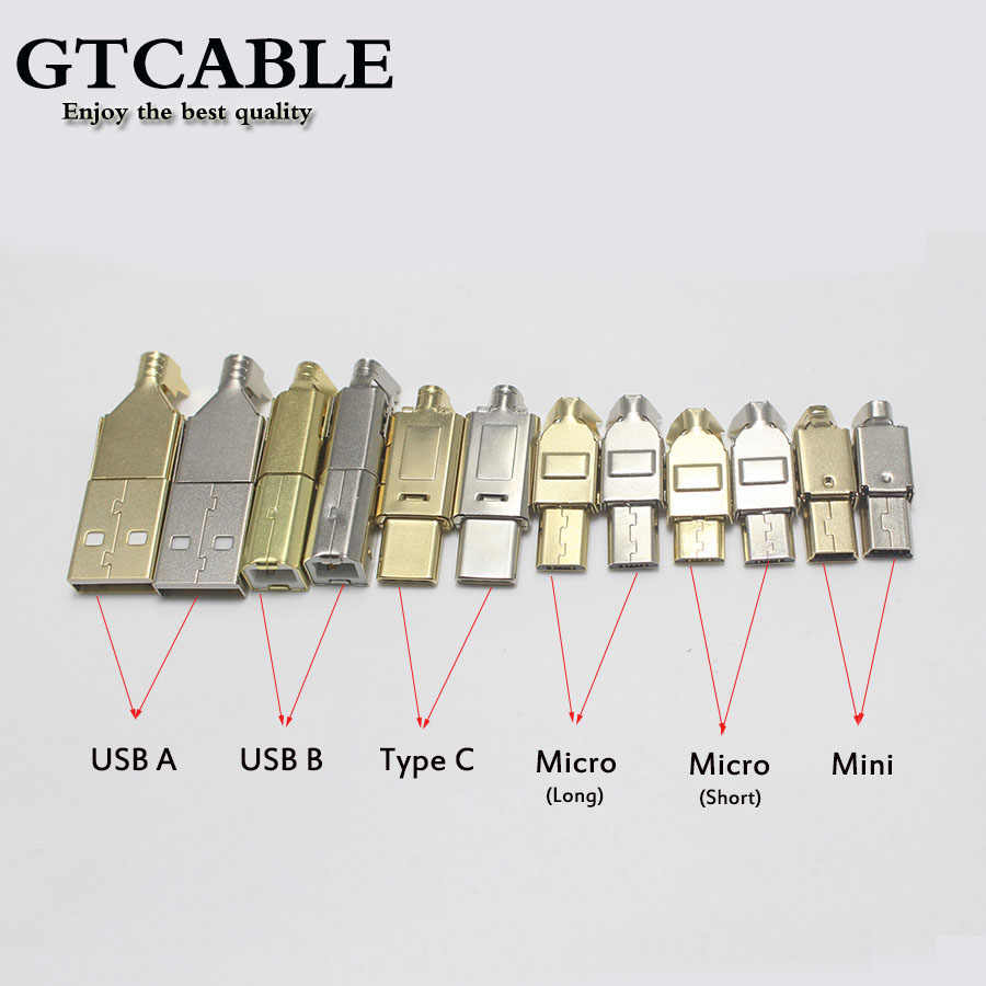 1Set Micro Mini Type C Usb 2.0 Usb 3.1 Male Connector Socket Jack Nikkel/Vergulde Voor diy Datakabel Hifi Audio Adapter