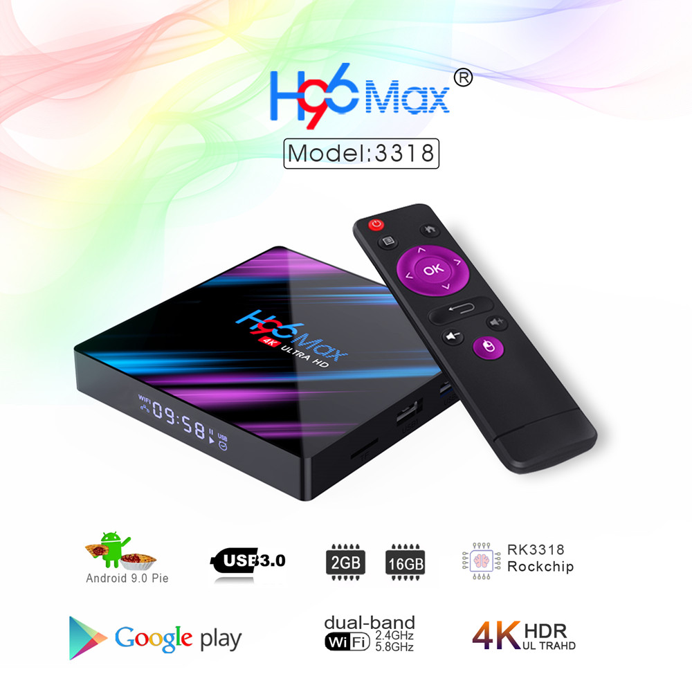 New H96 MAX RK3318 Android 9.0 TV Box 2GB RAM 16GB H.265 Media Player 4K Google Voice Assistant Netflix Youtube H96MAX 2GB16GB
