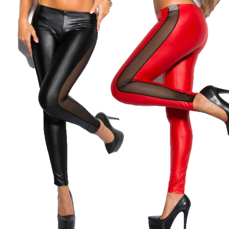 Faux Leather Mesh Stitching Plus Size Fitness Leggings Knitted Ankle-length Leggings Polyester Spandex Solid Casual Fashion 2020