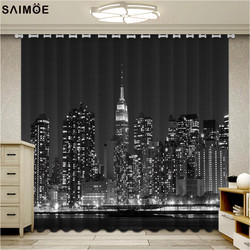 Black New York Building Curtains Beautiful Photo Fashion Customized 3D Curtains Night city lights Luxury Blackout 3D Curtains
