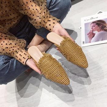 NIUFUNI Women's Rattan Slippers Solid Color Casual Hollow Shoes Slipper Women Pointed Toe Slippers Flat Shoes Cane Beach Shoes 4