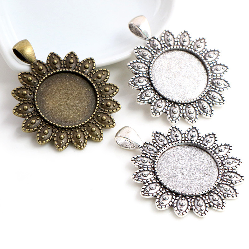 5pcs 20mm Inner Size Antique Silver Plated Bronze Classic Flower Style Cabochon Base Setting Charms Pendant