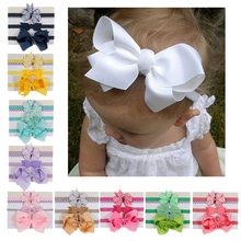 Nishine New 3pcs/lot Girls Lace Big Bow Hair Band Kids Elastic Floral Baby Bowknot Hairband Set Photo Props Hair Accessories