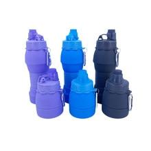 Nova platina grau silicone telescópica garrafa de água 600ml esportes ao ar livre copo de água fácil ca rry, garrafa de água retrátil