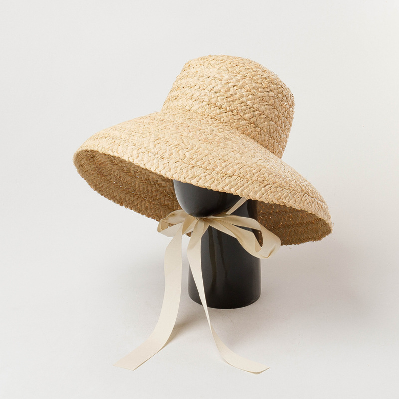 Retro Flat Top Drooping Brim Straps Hand-knitted Raffia Straw Hat for Ladies Outdoor Sunshade Beach Straw Hat