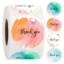 500pcs Water Color Thank You Stickers Roll Seal Labels 1 Inch Color Labels For Business Sticker Wedding decoration baby shower