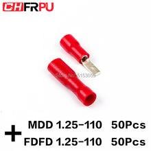100 adet 2.8mm 22-16AWG FDFD/FDD/MDD1.25-110 kadın erkek İzoleli elektrik sıkma terminali 0.5-1.5mm2 kablo tel konektörü