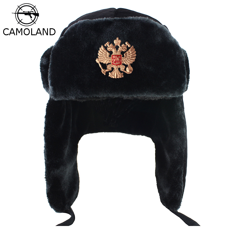 CAMOLAND Russia Ushanka Bomber Hat Women Man Soviet Army Military Badge Winter Hat Faux Fur Earflap Snow Cap Trapper Bomber Cap