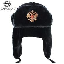CAMOLAND Russia Ushanka Bomber Hat Women Man Soviet Army Military Badge Winter Hat Faux Fur Earflap Snow Cap Trapper Bomber Cap