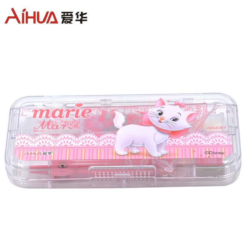Hot Sales Compasses Set Ruler Set Square Cartoon Boxed Primary School STUDENT'S Children Geometry Mapping Ruler Sets