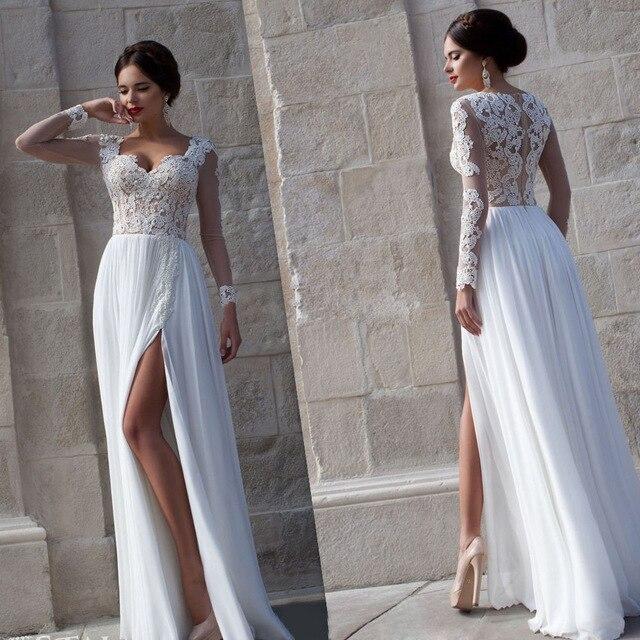 Vestido De Novia Simple 2018 Beach 2018 Custom Long Sleeve Chiffon Split Side A Line Bridal Gownss Bridesmaid Dresses