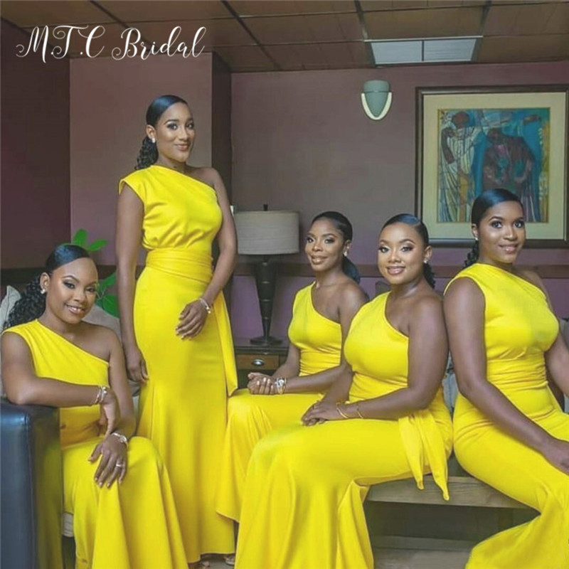 Golden African Bridesmaid Dresses One Shoulder Floor Length Long Maid Of Honor Dress 2019 Wholesale Wedding Party Gowns Cheap