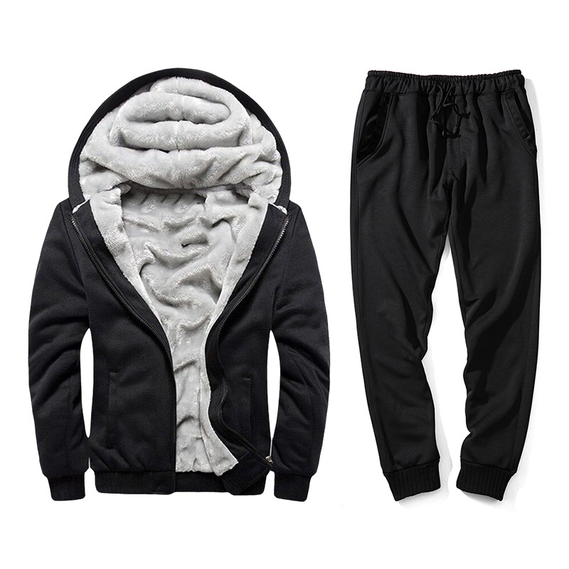 Men's Teenager Autumn And Winter Plus Velvet Thick Solid Color Hooded Coat Casual Gymnastic Pants Loose-Fit Two-Piece Set