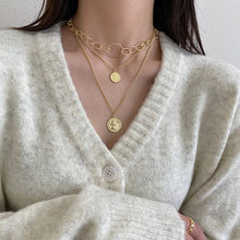 Huge Bud Punk Style Necklace Gold Color Multi-Layer Retro Portrait Coin Pendant Choker For Women Trendy Chain Clavicle Jewelry