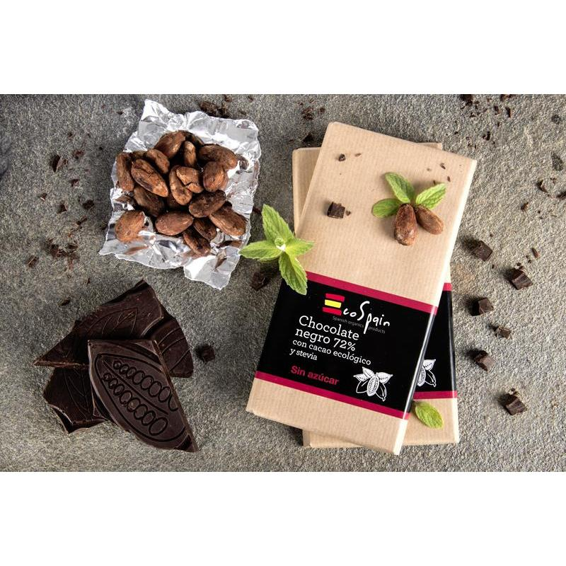Chocolate black 72% with cocoa ecologically friendly and stevia. No sugar high added. Suitable for diabetics. Gluten Free. 100 Gr.