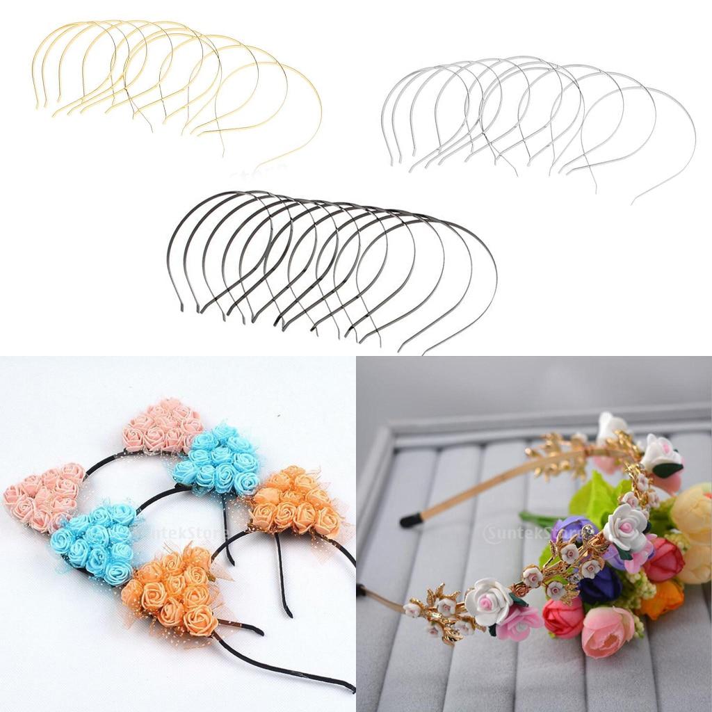 10 Pieces Plain Metal Headbands For Craft DIY Cat Ear Headband Floral Headpiece  DIY Accessory Hair Hoops For Jewelry Girls Head