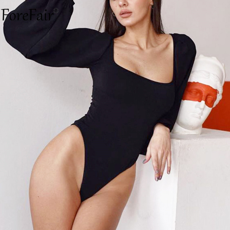 Forefair Square Collar Black Women Bodysuit Long Sleeve Backless Autumn Winter Jumpsuit White Casual Sexy Ladies Body Tops