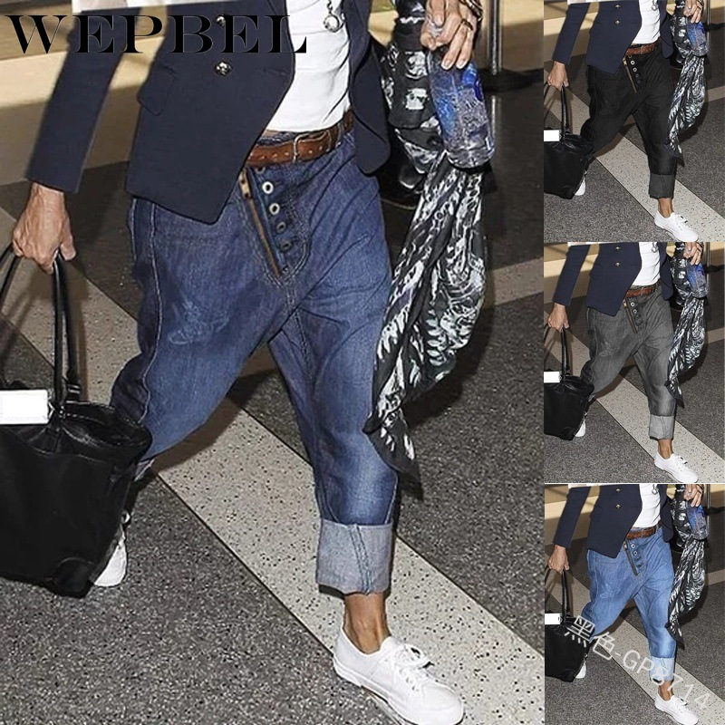 WEPBEL Men Jean Pants Full Length Pockets Loose Harem Denim Casual Fashion Men's Long Trousers