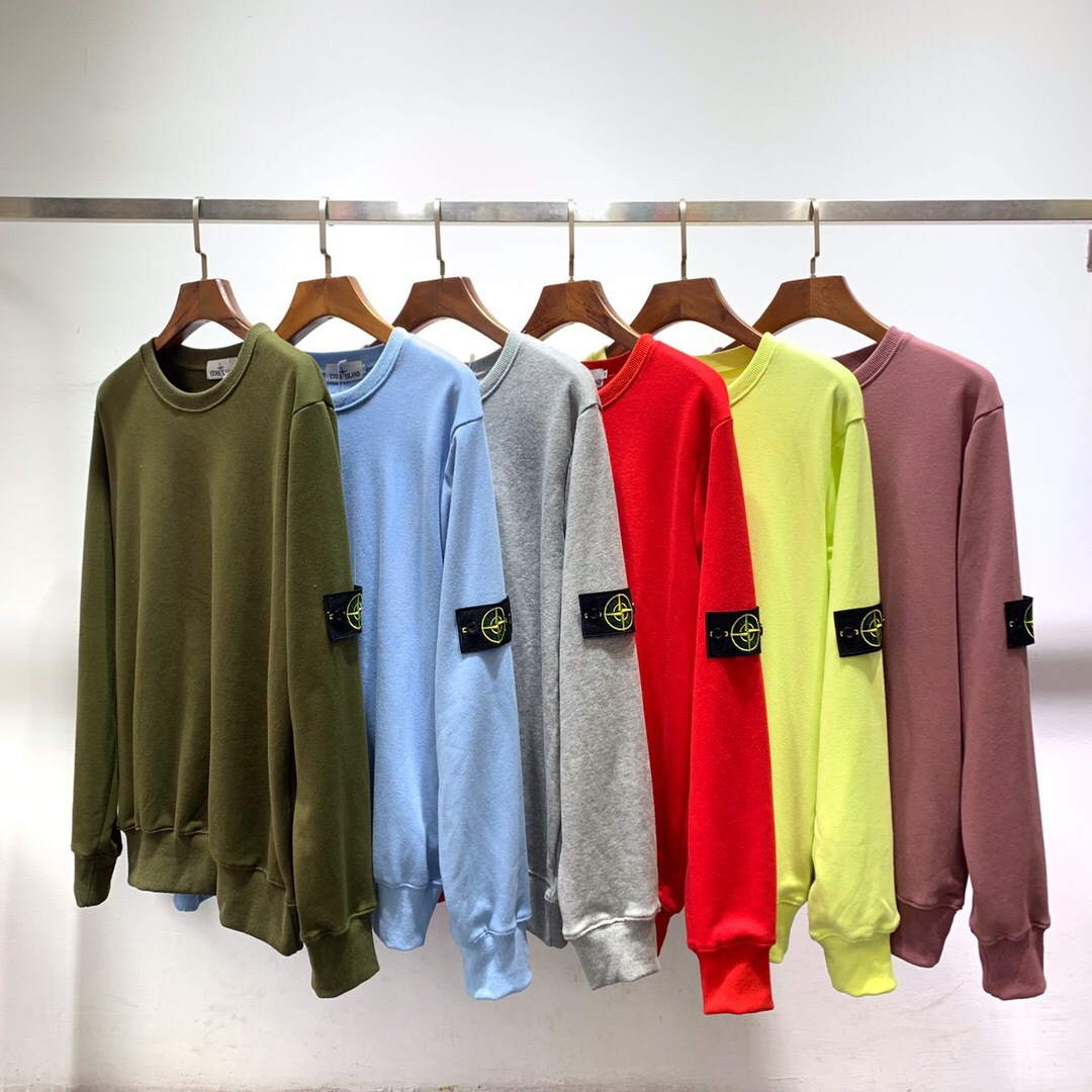 Tide Goods Base 2019 New Style Couples Simple Armband Candy Of Crew Neck Looped Pile Hoodie