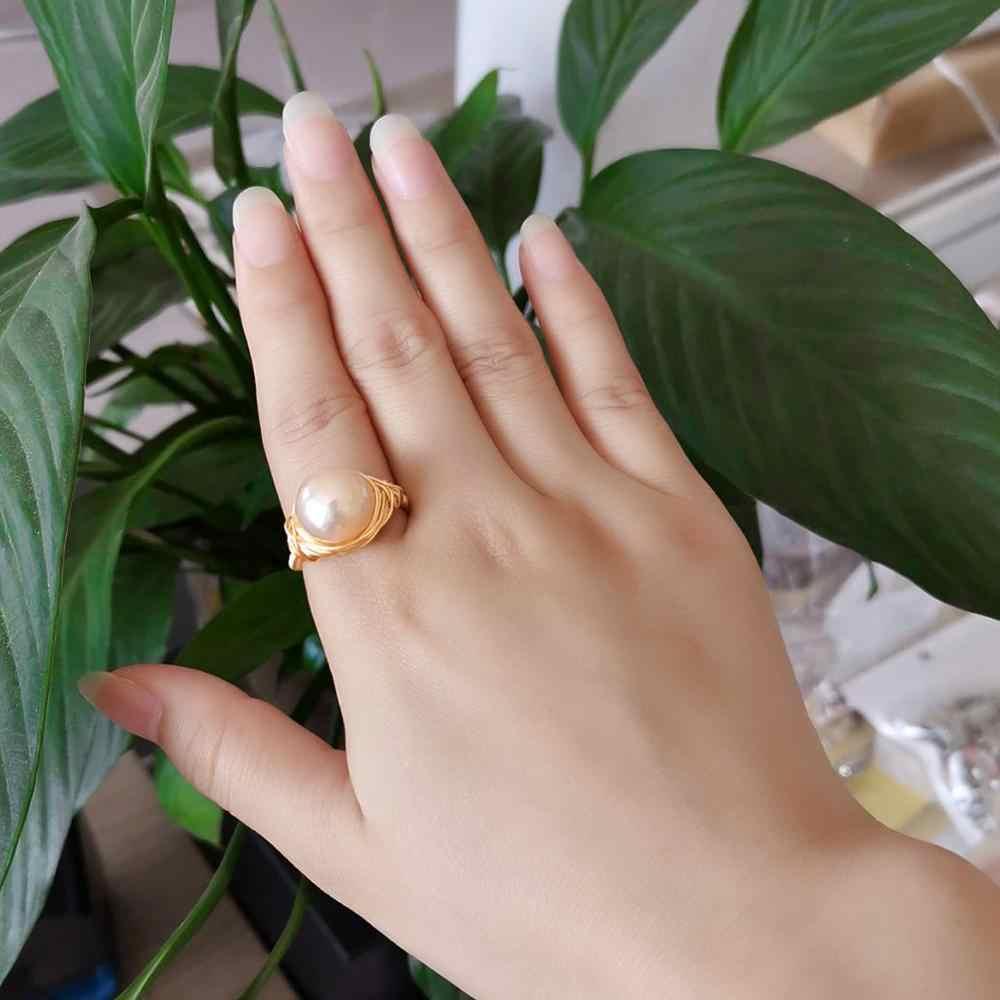 Anel de pérola Barroca de Água Doce Pérola Anéis Para As Mulheres Anéis ladys Partido Handmade Anel de Pérola Natural de água doce Pérola Jóias de Luxo