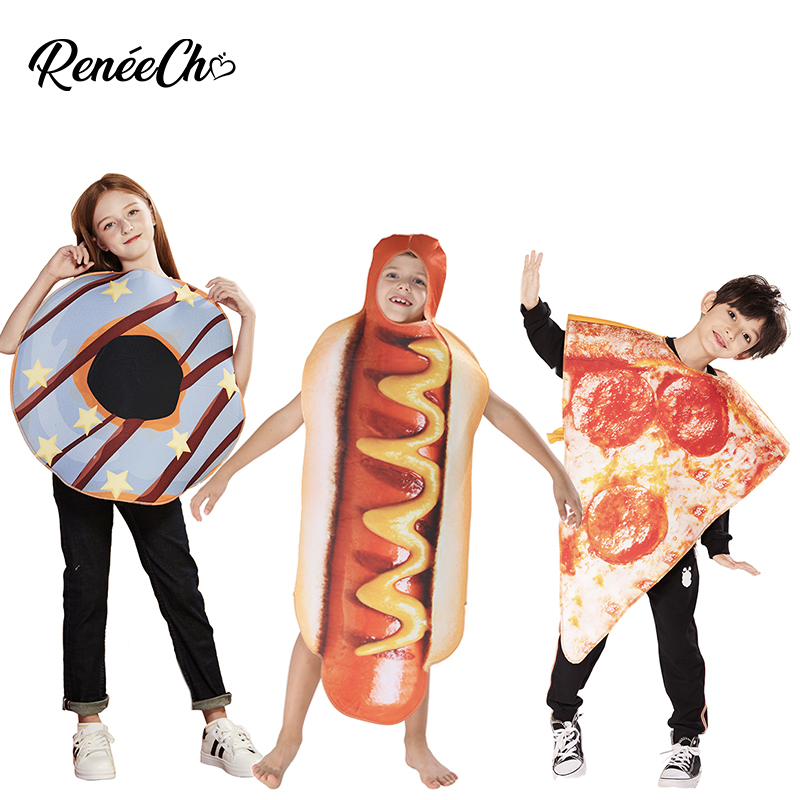 Halloween Costume For Girls Kids Hot Dog Costume Boys Costume For Carnival 2020 Funny Child Hotdog Cosplay Tunic Halloween Kids