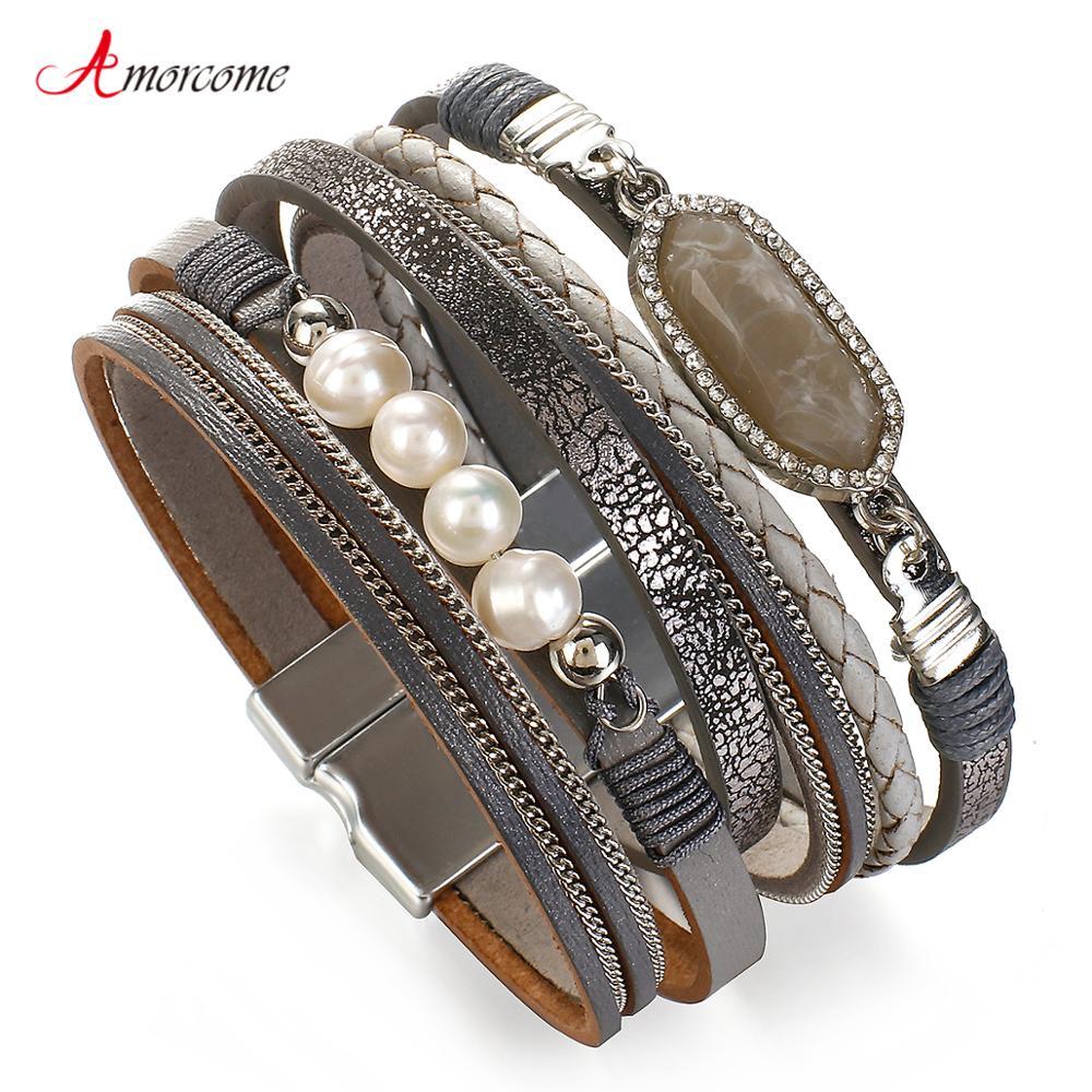 Amorcome doğal taş Charm deri bilezikler kadınlar için moda çok katmanlı zincir inci boncuk örgülü Wrap bilezik takı hediye