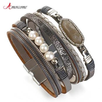 Amorcome Natural Stone Charm Leather Bracelets for Women Fashion Multilayer Chain Pearl Beads Braided Wrap Bracelet Jewelry Gift