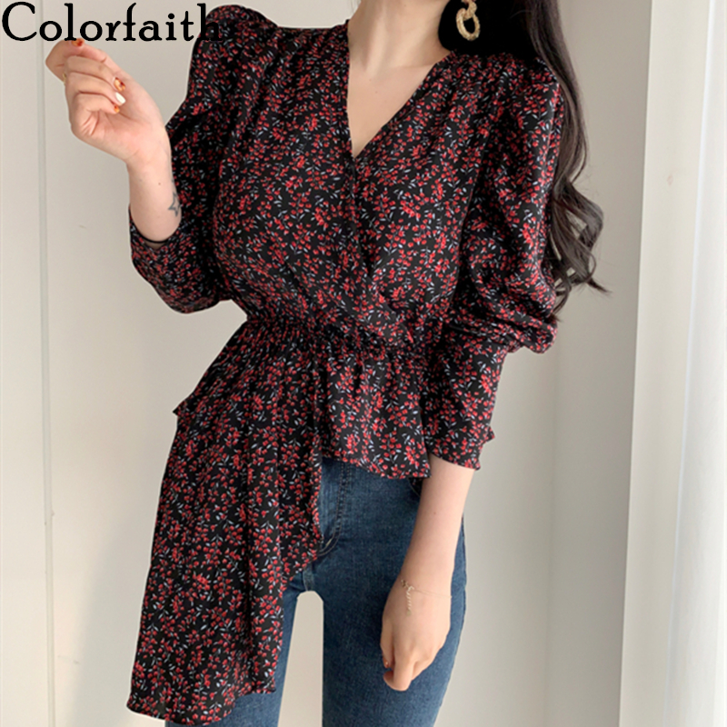 Colorfaith New 2020 Women Spring Summer Blouses Shirts Puff Sleeve Casual V-Neck Vintage Elegant Asymmetrical Flora Tops BL0807